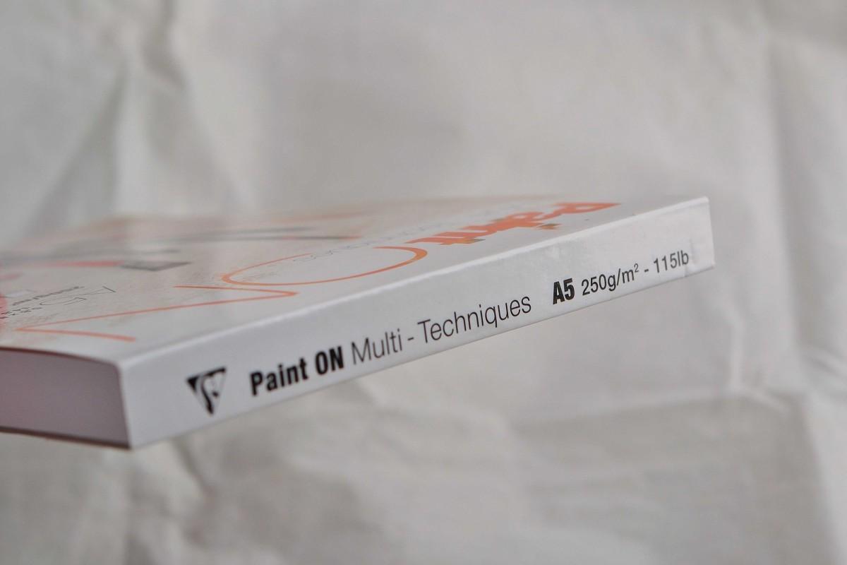 "Clairefontaine блокнот для смешанных техник 40л А5 ""Paint'ON"" на склейке, 250г/м², мелкозернистая."