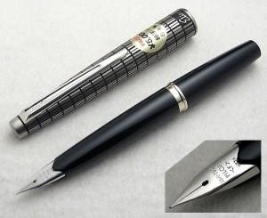 Pilot Steel Elite Fountain Pen 18K WG Nib, Sticker