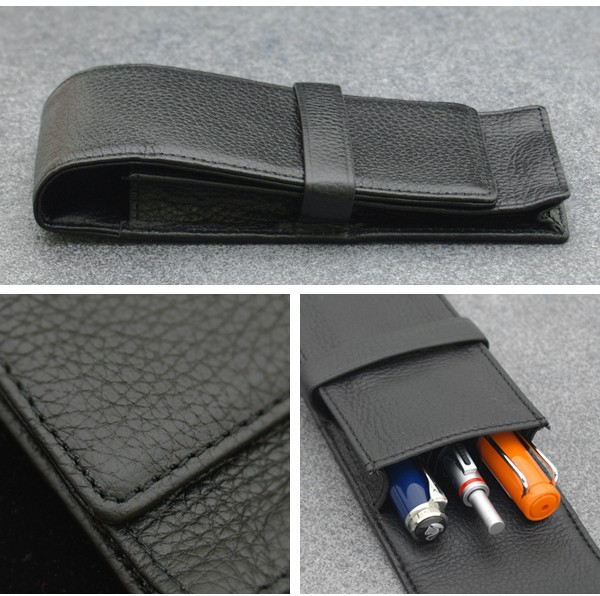 New Luxurious OriginalCowhide Black 3 fountain Pen Case