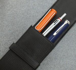 New Luxurious OriginalCowhide Black 3 fountain Pen Case